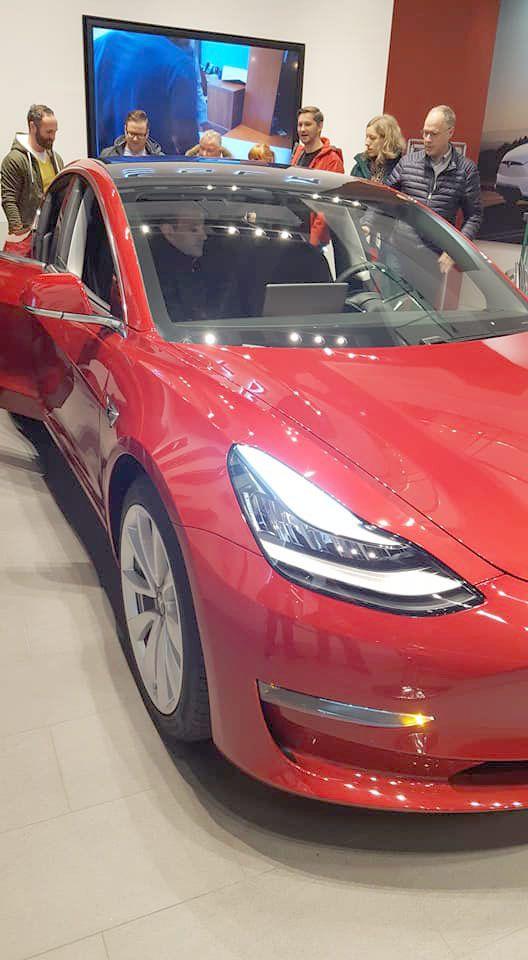 Tesla Model 3 Europe Display At The In Hamburg Germany