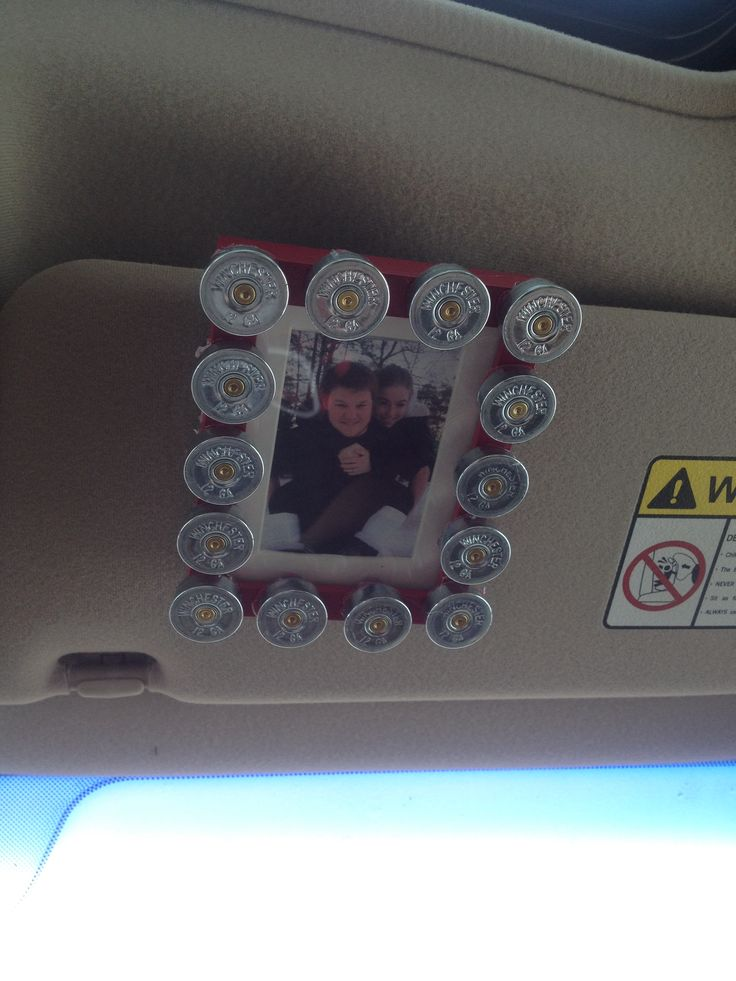 Car visor shotgun shell picture frame I made my boyfriend for Valentine's day! #valentinesdayidea #gift #boyfriend