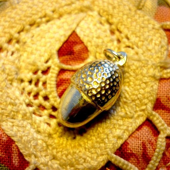Vintage Sterling Silver Acorn Pendant by PortugueseVintage on Etsy