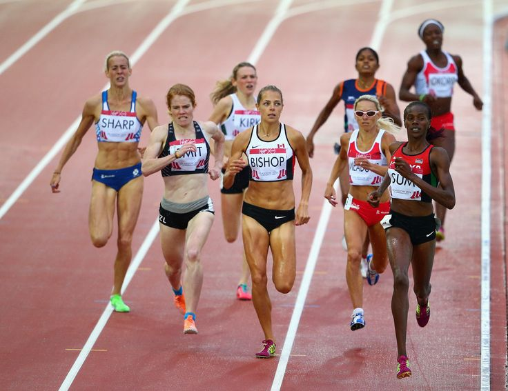 (L-R) Marilyn Okoro of England, Jenny Meadows of England and Eunice Jepkoech Sum of Kenya