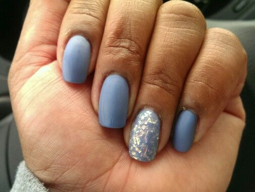 Matte Nails!!!! China Glaze Secret Periwinkle, China Glaze Luxe and Lush on accent with OPI Matte Top Coat. Mylar topper, blue nails