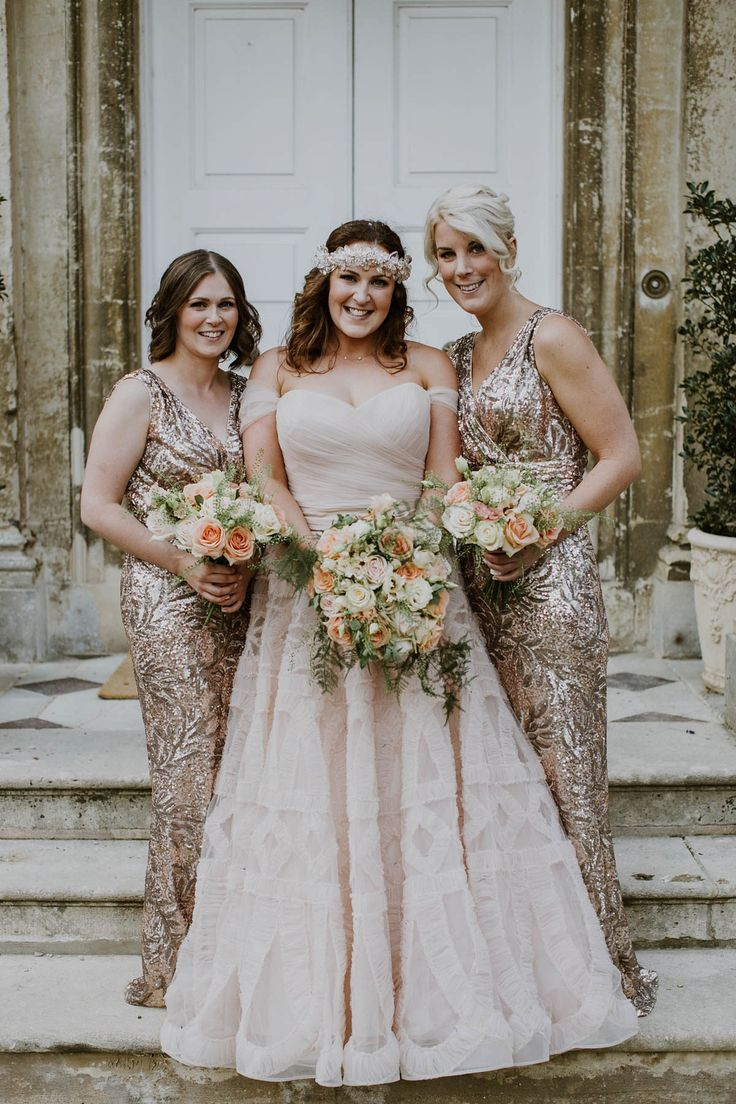 Bridesmaids wear sparkly dresses.Photography by Alexandra Jane