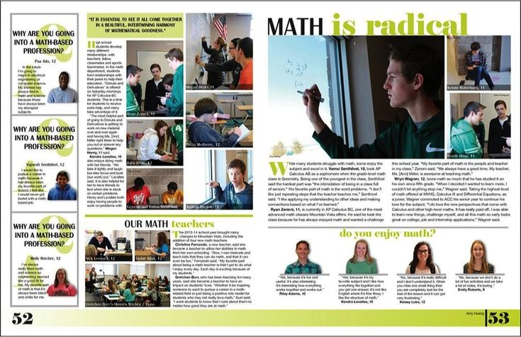 "#Yearbook Math spread idea HOT OFF THE PRESS 2014 // ""Aerie,"" Mountain Vista High School [CO]"