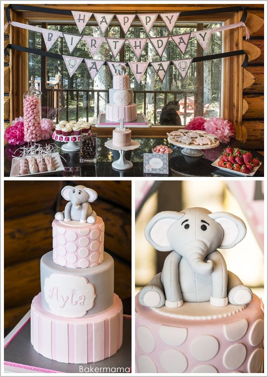 Elephant Birthday Party Theme Pink Grey.. Would love this for a shower theme! Aqua and grey for boy!