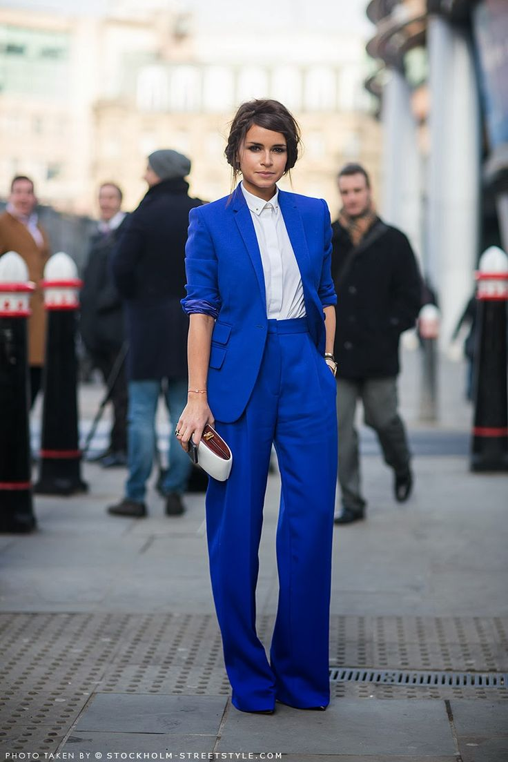 I love this classic look. The pants - waist is fantastic and big leg - that blue makes a statement without being too trendy.