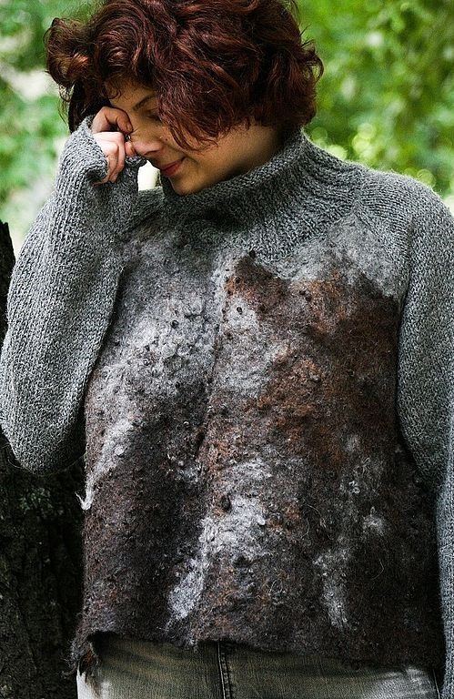 Eco style and boho chic Plus Size felted sweater by LunataFelt