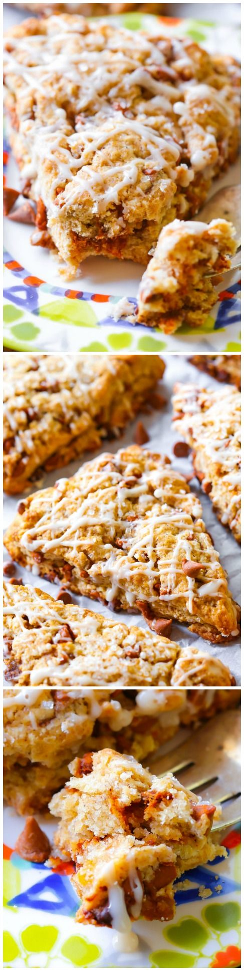 Crumbly, sweet, and tender Glazed Cinnamon Chip Scones-- you will love their texture!