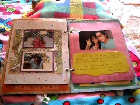 scrapbook for my boyfriend - YouTube.  Great ideas on how to make homemade albums and I LOVE the interactive aspect. Could use a file folder on the outside (or cereal box) to have a stiff cover.