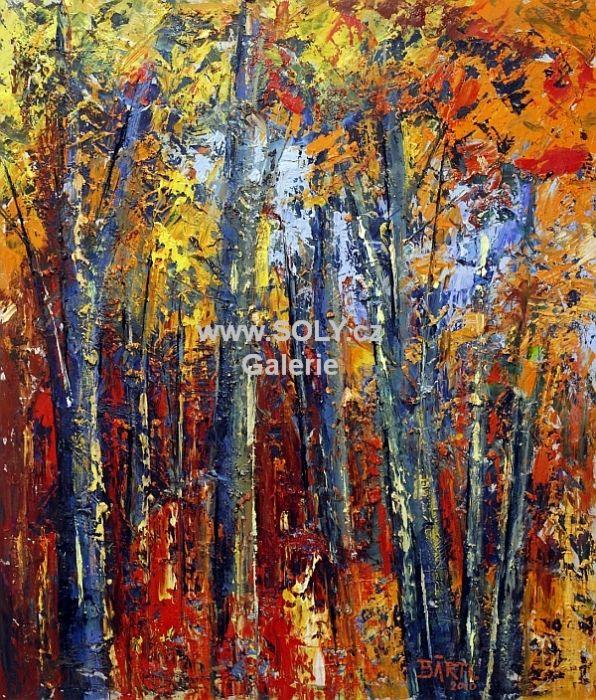Originální obraz českého malíře, olej na desce, 49x58 cm, české umění, cena 11.000,-, Bukový les, výrazně pastózní obraz