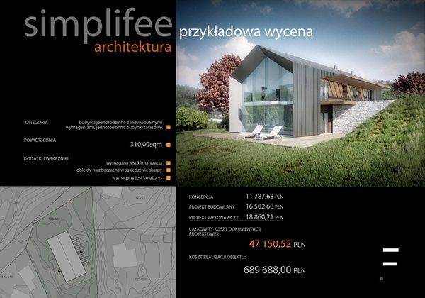 Simplifee - kalkulatory dla architektów i inżynierów -Przykładowa kalkulacja: 2+2 family house, Norway