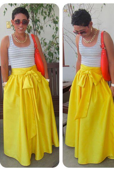 "Yellow DIY Skirts, Red Kate Spade Bags, Silver Gap Ts, Shirts | ""DIY Skirt! Loving Yellow and Big Bows"" by mimig - Chictopia"