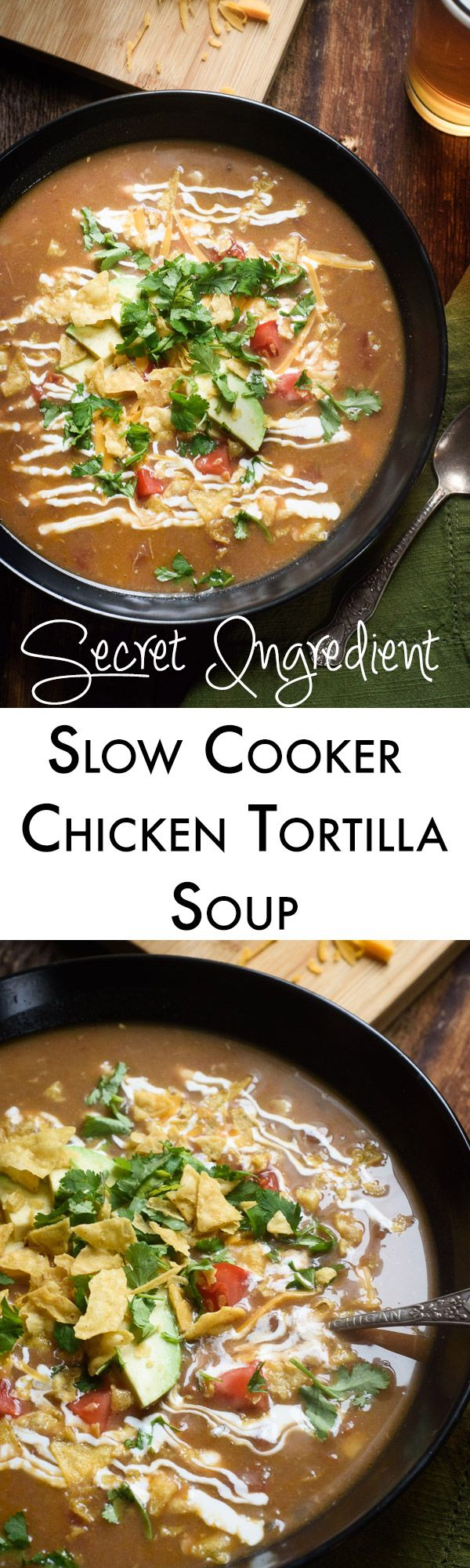 Slow cooker chicken tortilla soup is a family favorite! Our secret ingredient makes it thicker and creamier but keeps it healthy too!