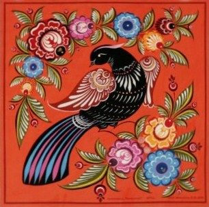 Folk Gorodets painting from Russia. A floral pattern with a bird. Russian