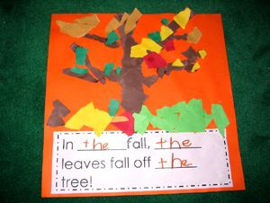 Add the writing to the bottom of our torn paper fall tree...practice writing sight word the
