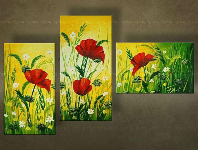 Ručne maľovaný obraz KVETY 3 dielny  5045FA