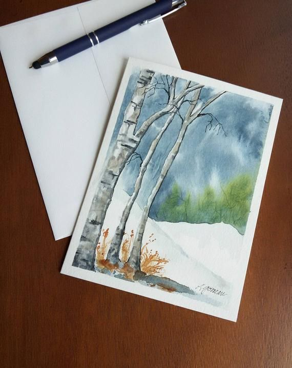 Original Watercolor Winter White Birch Tree Painting Or Greeting