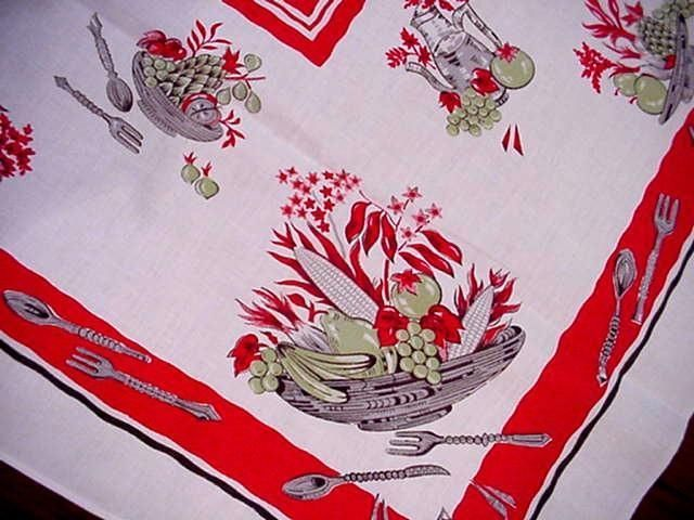 Vintage 50'S Modern FRUIT & VEGGIE Bowl MIDCENTURY Tablecloth Dishes RED Accents