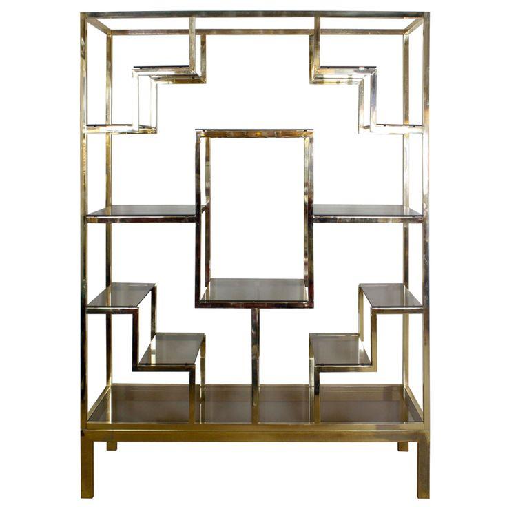 Baughman Style Brass Plated Display Shelves Circa 1960