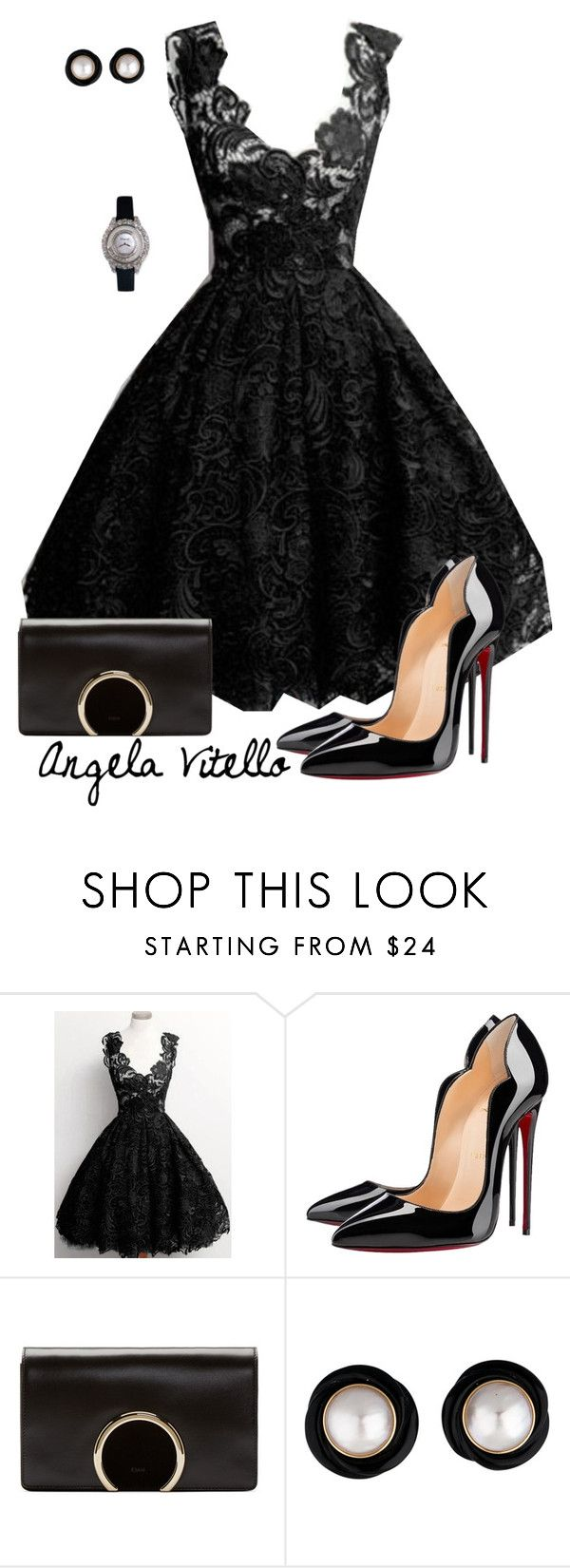 Untitled #646 by angela-vitello on Polyvore featuring Christian Louboutin, Chloé and Chopard