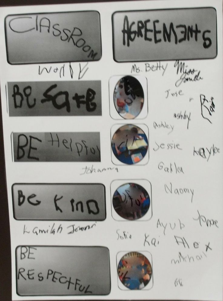classroom environments: Creating Community. Children make agreements instead of rules and sign their name afterwards. Love this idea!!!!