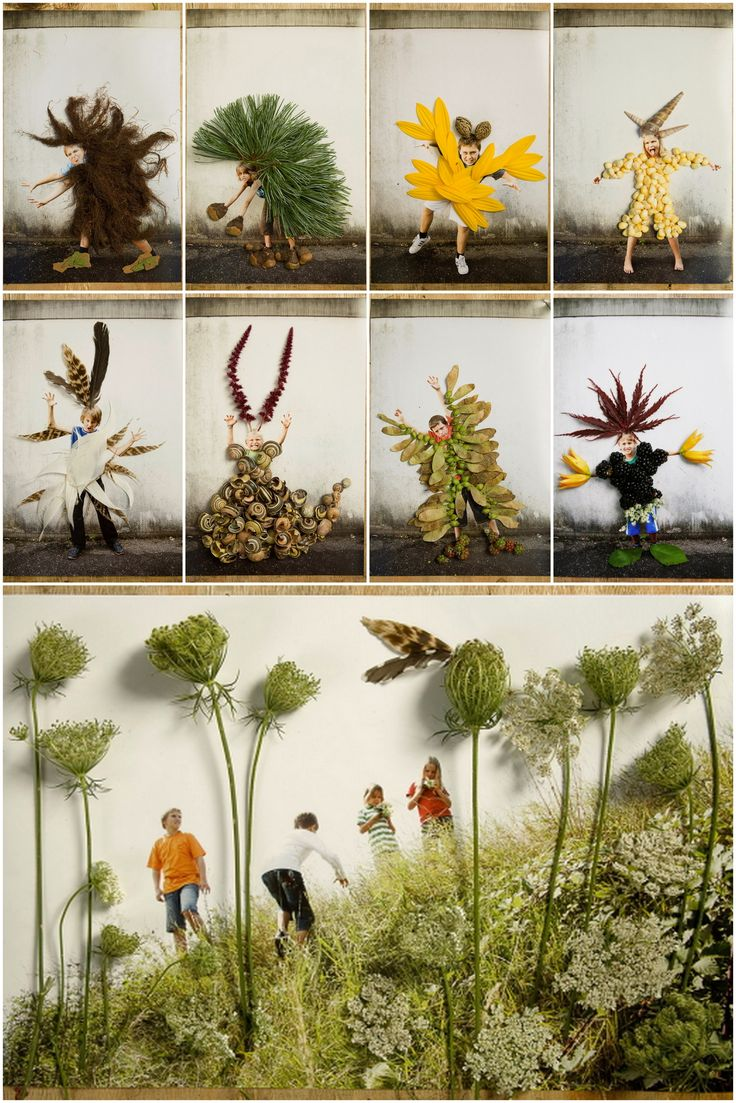 monsters -- love this -- collage natural items onto photos of your kids to make…