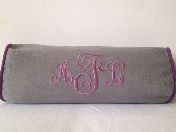 Gray bolster Monogram pillow, Neck Roll Pillows, Neck Support Yoga bolster Cover, Personalized Monogram Bolster Home Decor by Snazzyliving on Etsy https://www.etsy.com/listing/484352124/gray-bolster-monogram-pillow-neck-roll
