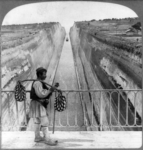 """Underwood & Underwood - """"An old dream realized at last, ship-canal through Isthmus, E.S.E. Corinth, Greece"""", c1906"""