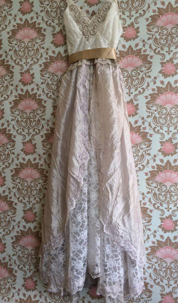 White pale taupe tulle lace boho princess wedding dress for Taupe lace wedding dress