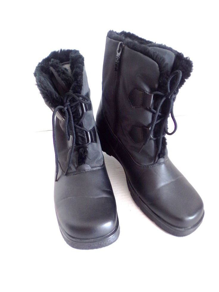 Great for snowbound Princesses Womens Ladies Black Boots Totes Faux Fur Lined All Weather Size 10 #Totes #AllWeather