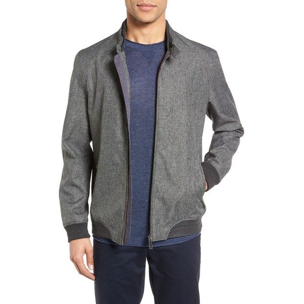 Men's Ted Baker London Apollo Mouline Bomber Jacket ($315) ❤ liked on Polyvore featuring men's fashion, men's clothing, men's outerwear, men's jackets, grey, mens blouson jacket, ted baker mens jacket, mens light weight jackets, mens flight jacket and mens grey bomber jacket