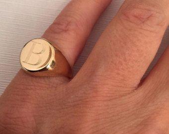 7b45a9e4718d0 Anel de sinete de ouro anel de dedo mindinho anel by JunamJewelry ...