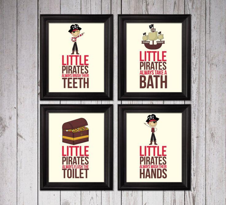 Little Pirates Always Take A Bath, Kids Decor, Pirates Bathroom Decor,  Bathroom Rules