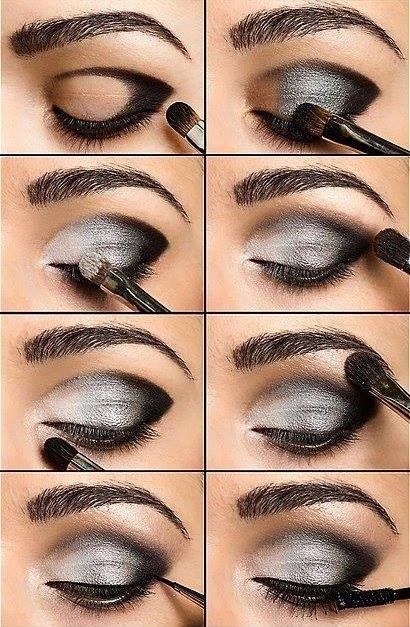 Black and grey makeup. You could do this in any color. Lighter lid, darker outer v-crease