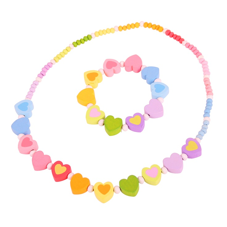 This pretty wooden necklace and bracelet set features a delightful palette of pastel hearts for little girls who love to dress up with just a touch of glamour! The lightweight wooden beads are threaded on a strong but gentle elasticated cord. Ages 3 years and up. 2 play pieces. http://shop.bigjigstoys.co.uk/p/rainbow-heart-jewellery-set