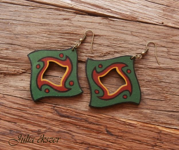 hanpainted wooden earrings