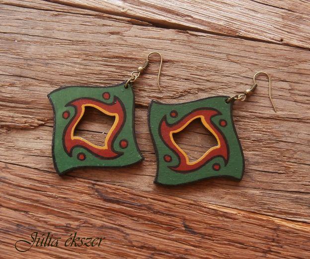 hanpainted wooden earrings