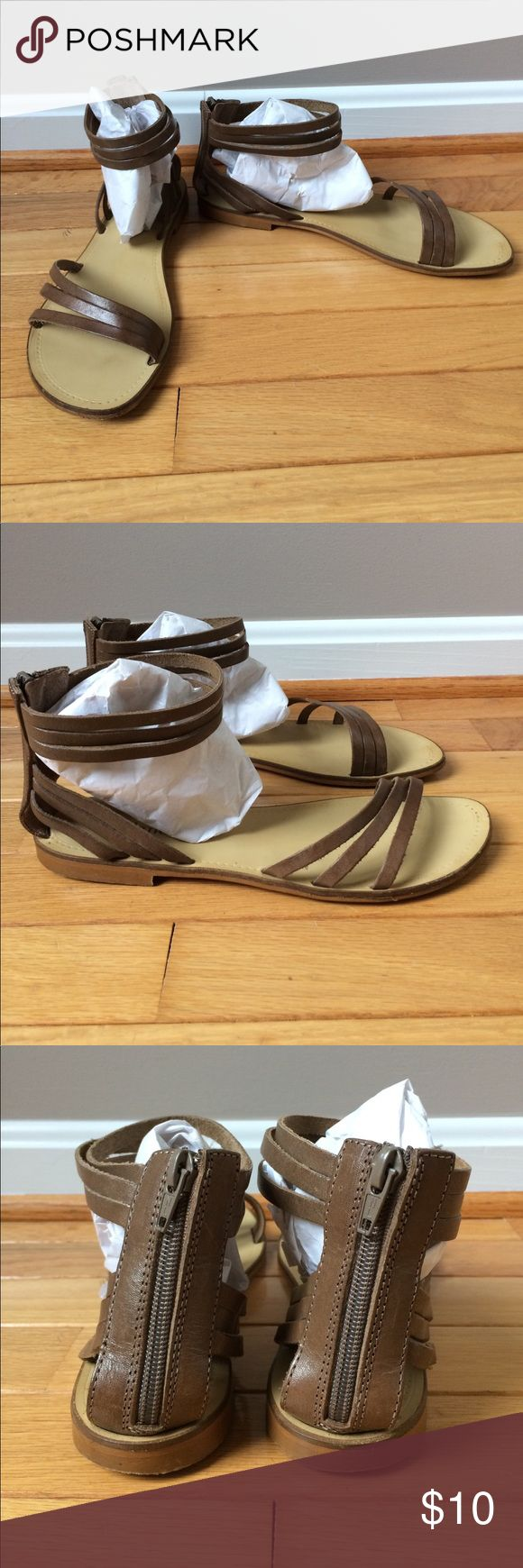 Sundance Leather Sandals Lightly used, strappy, ankle wrap sandals in a medium brown leather. Sundance Shoes Sandals