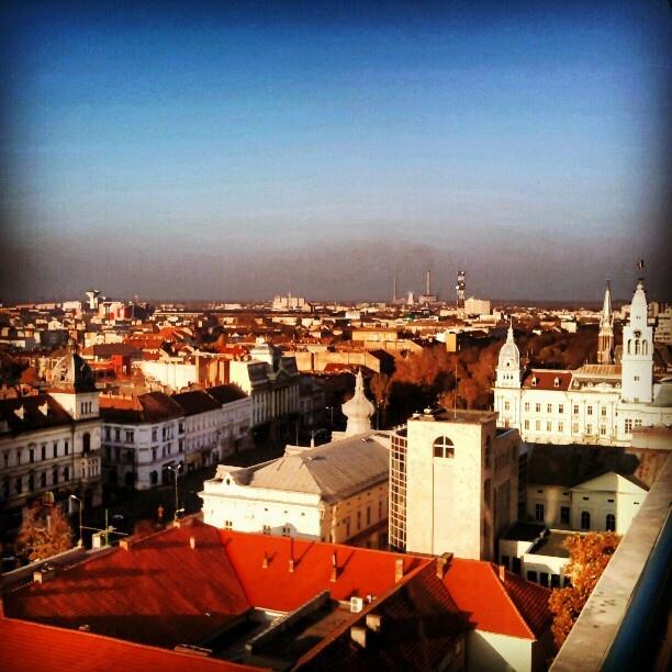 Bird's eye view over Arad, Romania