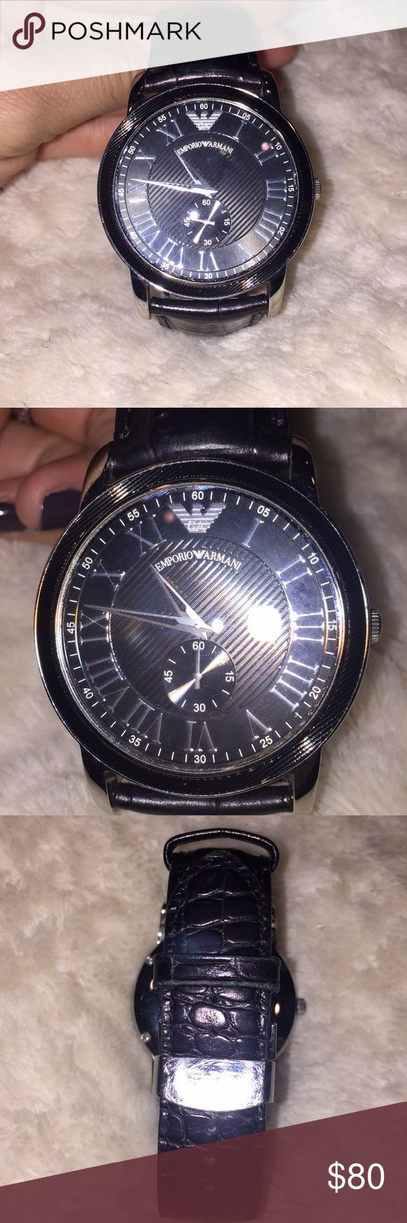 Emporia Armani men's watch Emporia Armani men's watch in great condition. Black band with black watch face Emporio Armani Accessories Watches