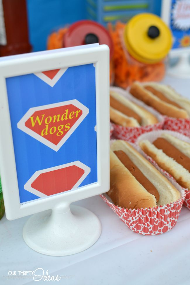 wonder dogs sign for a super hero party? freakin cute. Other fun food signs that you can print too.