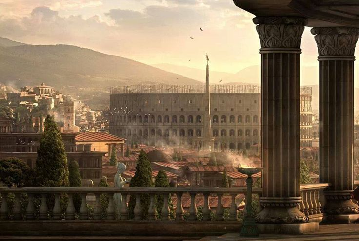 With this beautiful image of Rome, we get to see the Colosseum as it is still under construction.