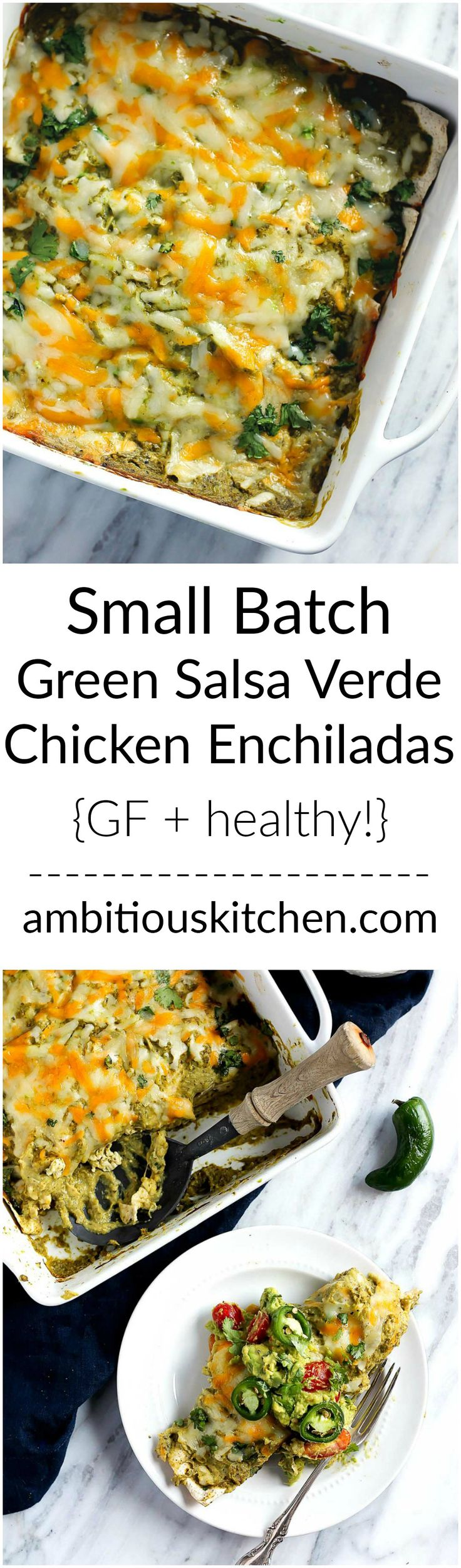 Time for a healthy comfort food makeover! Beautiful super green salsa verde chicken enchiladas that will have you licking your plate clean. These are small batch so they're perfect for a few people, or double the recipe for a crowd!
