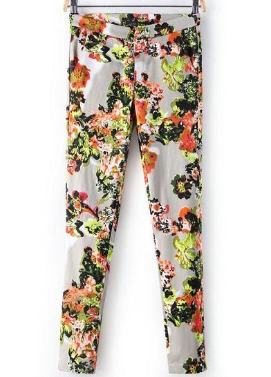 Unusual trousers ...   Apricot Floral Slim Pockets Pant US$21.72