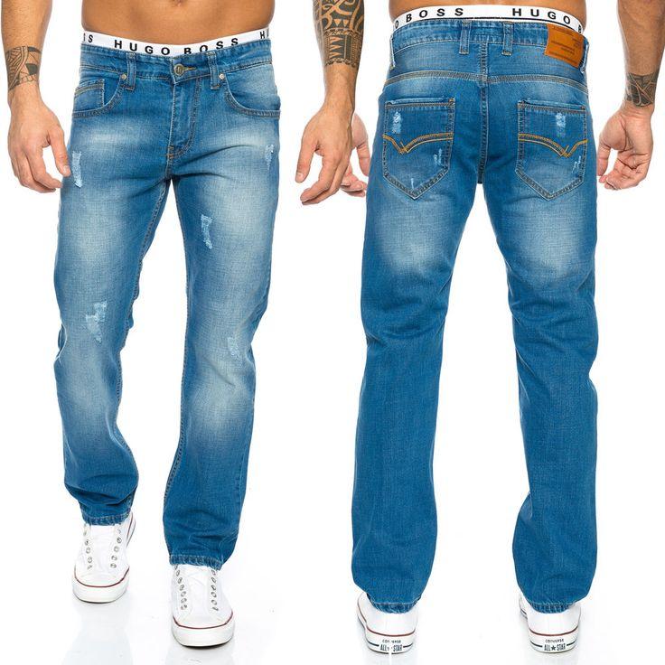 Rock Creek Jeans Hose Herren Jeans Blau Used-Look Straight-Cut LL-394 L30-L38