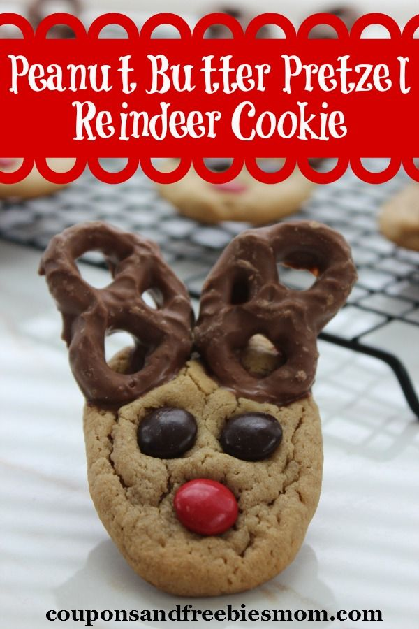 Peanut Butter Pretzel Reindeer Cookie | Coupons and Freebies Mom | Nothing beats a warm peanut butter cookie with a tall glass of milk unless it's this special holiday Peanut Butter Pretzel Reindeer Cookie.  With just a couple of fun embellishments you can take a simple and classic cookie right into the holiday by featuring the ever popular Rudolph the Red Nosed Reindeer. | #Christmas #holidays #ChristmasCookie #holidaycookies #reindeer #kidfriendly #recipe