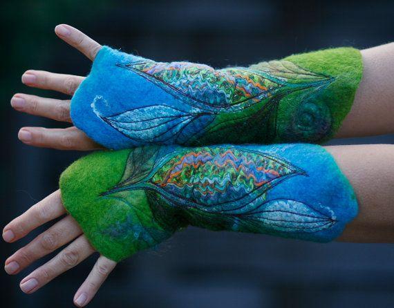 Felt cuffs Felted gloves Arm Warmers Nuno от FeuerUndWasser