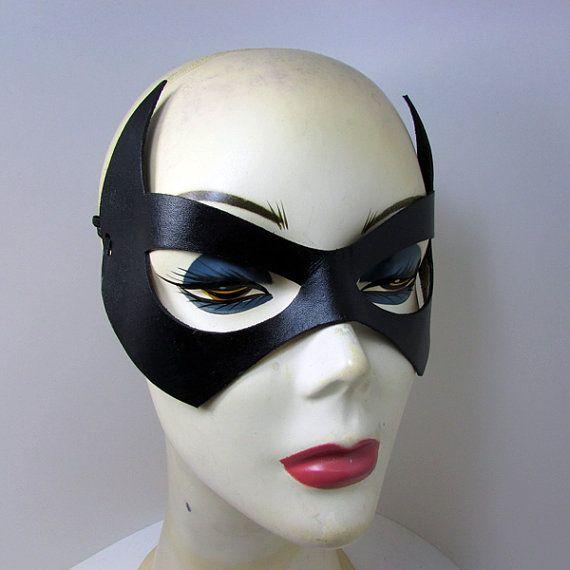 Catwoman leather mask Handmade  Batman tv series. Eartha