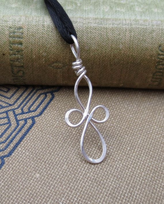 Little Loopy Celtic Cross Silver Wire Pendant by nicholasandfelice, $12.50