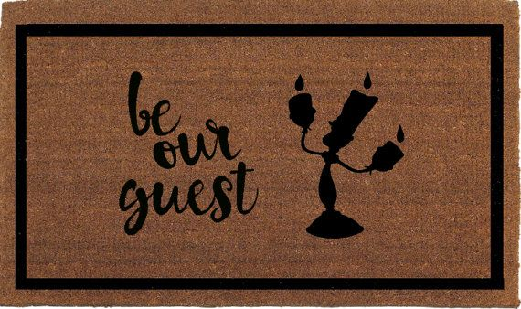 "Be Our Guest Beauty and the Beast Lumiere Disney Door Mat, Coir Doormat Rug, 24"" x 35"", Welcome Mat, Housewarming Gift, Hand Painted By Me"