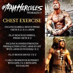 The Rock Hercules Chest Workout. Just another great showing of how the legend of Hercules lives on. A whole workout series titled TeamHercules. A workout dedicated to getting muscle mass and gaining strength.